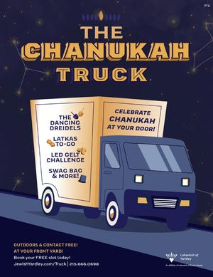The Lubavitch of Yardley offers visits by its  Chanukah Truck to Jewish families throughout Bucks County during the eight-day celebration starting Dec. 10.