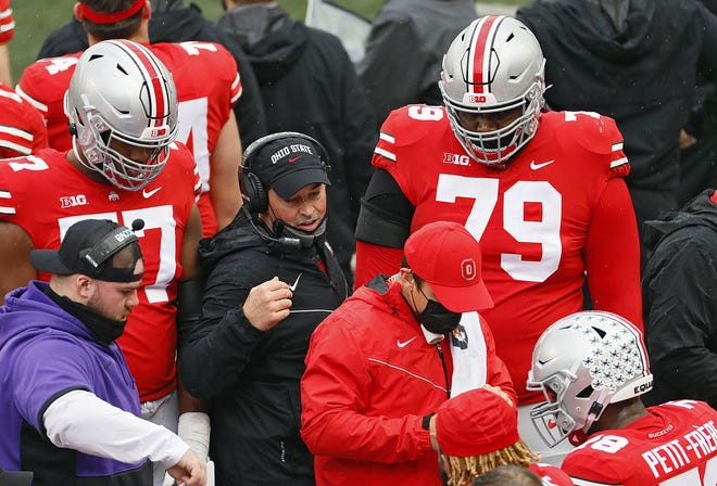 Ohio State coach Ryan Day talks to the offense during a game against Indiana last Saturday.