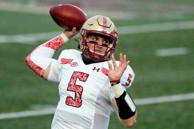 BC quarterback Phil Jurkovec said the bye week helped him treat his right shoulder, which has been sore since the second half of the Oct. 31 game against Clemson, though it did not keep him out.
