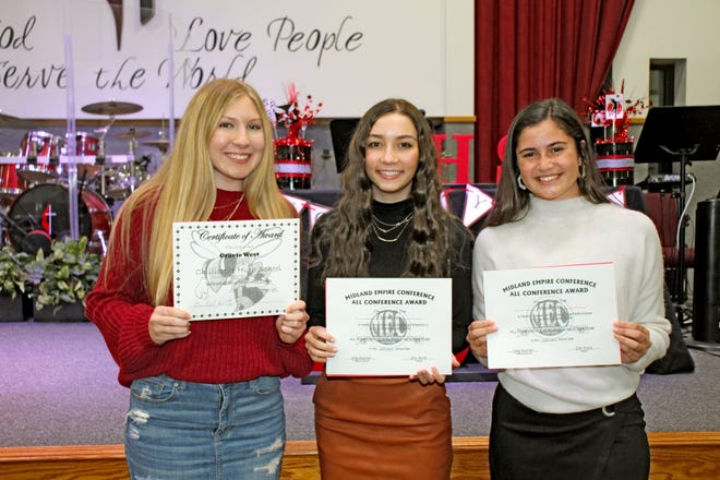 Volleyball Lady A trio of 2020 Chillicothe High School volleyball players received special recognition at the program's postseason awards event at the Chillicothe United Methodist Church. Senior Maya Snyder, right, and junior Essie Hicks, center, were saluted for having been voted to the all-Midland Empire Conference team's honorable mention ranks. Junior Gracie West, left, was presented the team's most improved player award.