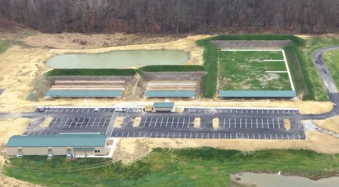 An aerial view shows the newly renovated public shooting range at the Delaware Wildlife Area. The $8 million project was paid for by excise taxes on firearms, ammunition and archery equipment appropriated through the Wildlife Restoration Program.