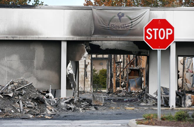 The state fire marshal is investigating a suspicious fire that took place Thanksgiving morning, gutting at least one store and damaging the Village Plaza Shopping Center, next to an Aldi's off Beville Road. This was the scene on Friday, Nov. 27, 2020.