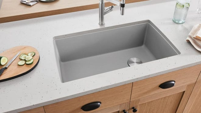 This sink looks like concrete, but it's much easier to take care of.