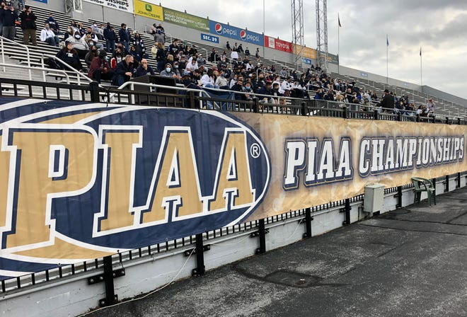 Fans await the start of the PIAA Class 3A championship game between Central Valley and Wyomissing at Hersheypark Stadium on Nov. 27.  The Pennsylvania Interscholastic Athletic Association, which regulates high school sports, is suing to be exempt from the state's Right-to-Know Law.