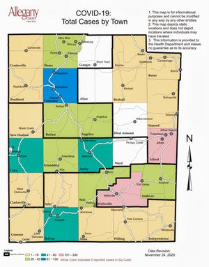 Allegany County's COVID-19 map released Friday breaks down cases by town.