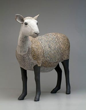 Susan O'Byrne, Sheep, 2018. Porcelain, Paperclay.