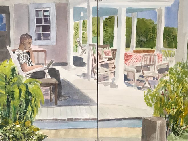 On the Porch at the Avalon, Cuttyhunk by Jay Ryan