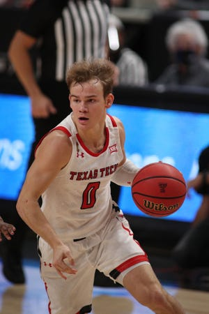 Texas Tech guard Mac McClung (0) works the ball against Sam Houston State in the first half of a nonconference game Friday at United Supermarkets Arena. McClung finished with a game-best 18 points to secure his second straight double-figure game.  [Michael C. Johnson/USA TODAY Sports]
