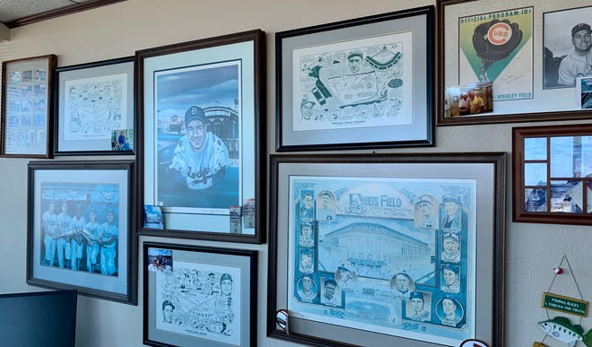 A wall of memorabilia is just part of attorney Jerry Kolander's collection of Los Angeles Dodgers mementos.