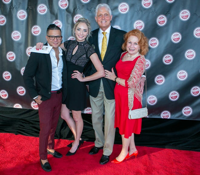 From left to right, Tony Deras, Katherine Sokol Deras, David Sokol and Patricia Sokol, are shown in this 2019 file photo. The group is behind the Katya Vineyards restaurant, which has earned a fine dining 2020 Golden Spoon Award from Florida Trend Magazine.