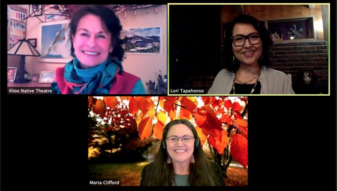 From left to right, top to bottom, Theresa May, Lori Tapahonso and Marta Clifford at illioo Native Theatre's first public reading on a Friday, Nov. 20 Zoom call.