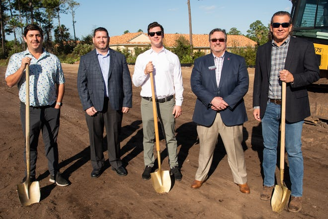 Ground was broken on Nov. 18 for Park Ridge Townhomes, the latest project from McGarvey Residential Communities. Pictured are Matt McGarvey (from left); Zach Scott, Ameris Bank; Sean McGarvey; Ross McWilliams, Ameris Bank; and Dennis Ginder, Encore Homes.