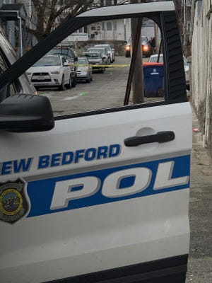 The scene at Lafrance Court in New Bedford on Friday.