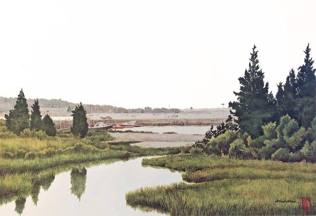 """Eel Pond"" print by Arthur Moniz"