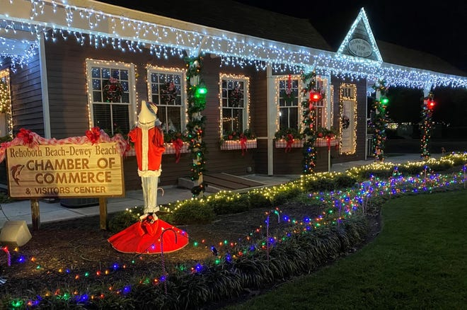Rehoboth Beach holiday events are being held. Pictured: A display of lights at the Rehoboth Beach-Dewey Beach Chamber of Commerce & Visitors Center.