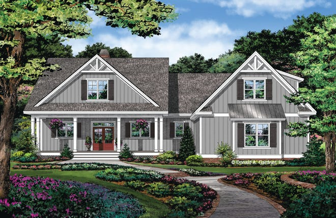 This effortless exterior gives you plenty of charm with a cute front porch, board-and-batten siding, and a gable roof.