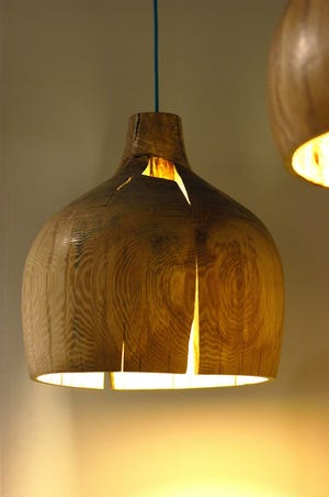 This artistic rendering of a pendant light is a glowing example of light as a piece of art.