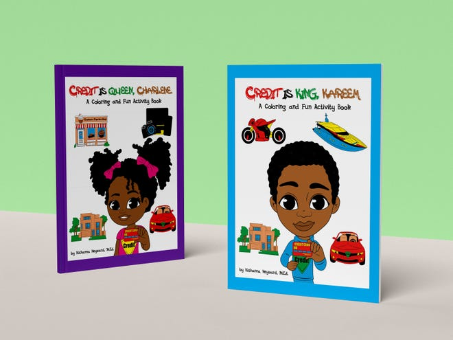 'Credit Is King, Kareem' and 'Credit Is Queen, Charlene' are two new coloring and activity books by Fayetteville author Kishanna Heyward that teach about building credit.