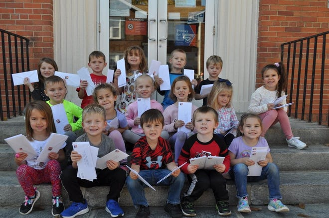 The Pre-K class was ready to mail the first batch of letters to veterans.