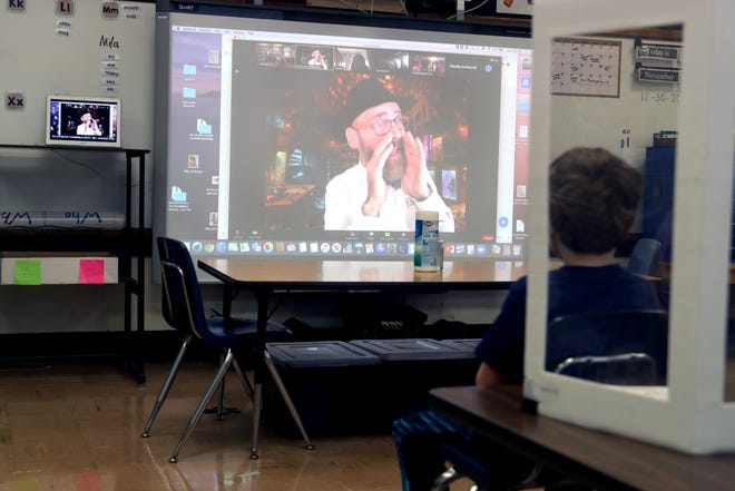 Jim Bruner, a STEM professor with the PAST Foundation, interacts with students via Zoom on Nov. 24 as part of Stevenson Elementary School's annual All Science Day event. The event was held remotely because of the COVID-19 coronavirus pandemic.