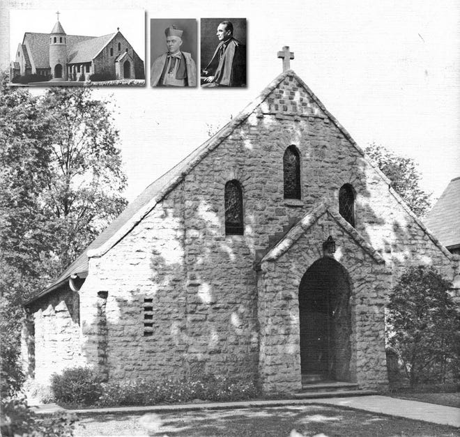 In 1922, Bishop James Hartley of the Roman Catholic Diocese of Columbus established Our Lady of Victory Parish. The parish was bounded by the two rivers, McKinley Avenue and the northern boundary of the diocese, and it included 65 families. Bishop Hartley (inset, middle) approved the purchase of 4 acres in Marble Cliff at the corner of Roxbury and Cardigan Avenue, which was the property owned by Sylvio Casparis and then the Merkle family. The 20-room home was used to house the parish school and the convent and chapel of the Sisters of Charity of Nazareth. A second building was used as the rectory for the Rev. Thomas Nolan, the first pastor. By mid-1923 the parish had expanded to 108 families, and a new chapel designed by George McDonald was built. The current rectory and the building for the OLV Academy were built in 1931. The addition to the church in 1957 (inset, left), also designed by McDonald, was an attempt to incorporate the English Gothic architecture that was evident in the rectory. Bishop Michael J. Ready (inset, right) was to dedicate the church in 1957, but he died unexpectedly died a day and a half before the ceremony.