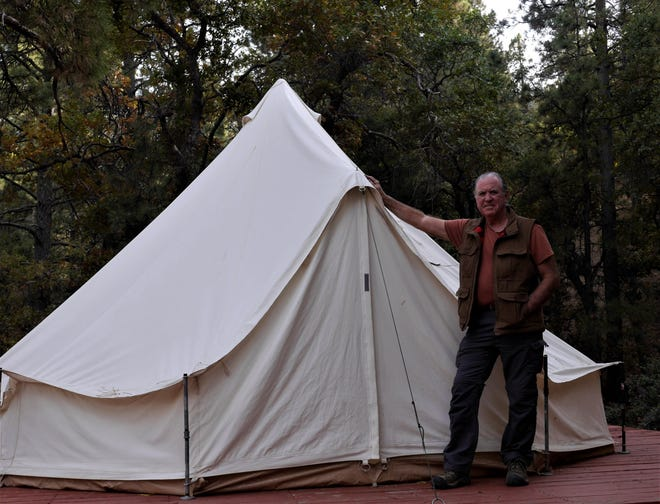 John outside the entrance to a rentable campsite at Hualapai Mountain Park in Arizona.