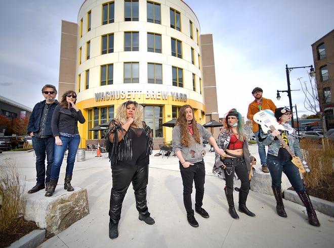 From left, musicians Peter Zarkadas, Sarah Levecque, Brandie Blaze, Jonathan Cordaro, Amber Tortorelli, of Sapling, Milo of EyeWitness and Rainy Logan also of both Sapling and Eye Witness.
