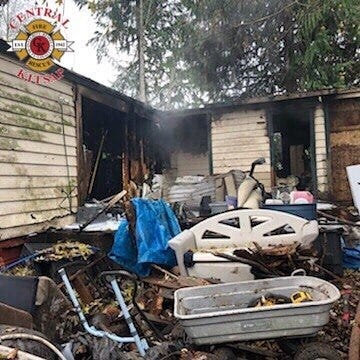 A mobile home on the 7400 block of Old Military Road NE was completely destroyed in a fire on Thanksgiving Day.