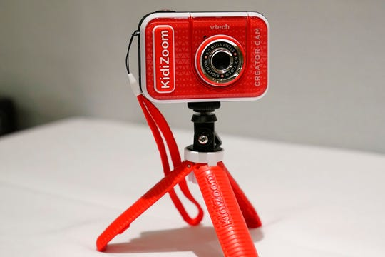 A KidiZoom Creator Cam by VTech is displayed at the Toy Fair, Thursday, Sept. 17, 2020, in New York.