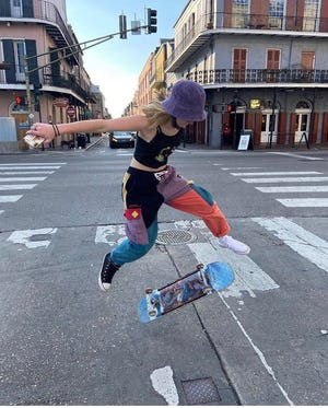 Lacey Harmon, 19, starting skating in Lafayette a year ago. Despite not having a park, she's thrived in the local skateboarding community.