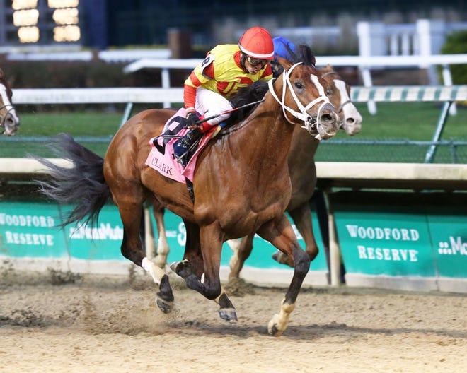 Bodexpress and jockey Rafael Bejarano win the Grade 1 Clark Stakes on Friday, Nov. 27, at Churchill Downs in Louisville, Kentucky.