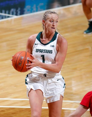 Michigan State's Tory Ozment drives against St. Francis, Friday, Nov. 27, 2020, in East Lansing, Mich. MSU won 77-44.
