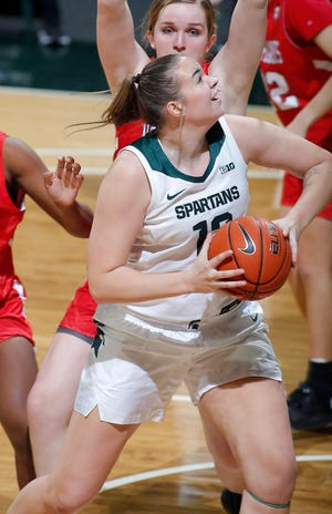 Michigan State's Lauren Rewers maneuvers for a shot against St. Francis, Friday, Nov. 27, 2020, in East Lansing, Mich. MSU won 77-44.