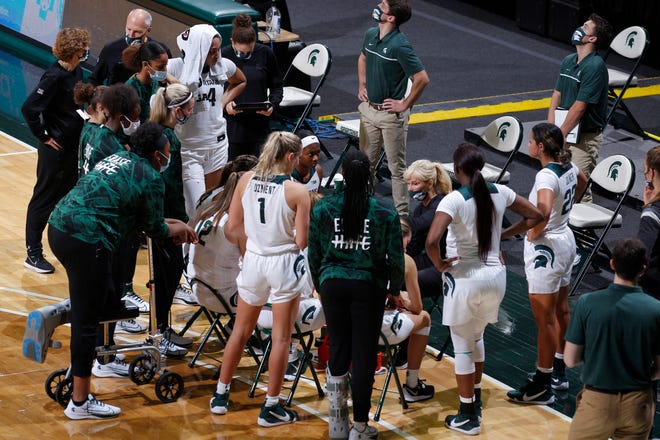 Michigan State's bench gets instruction from coach Suzy Merchant during a timeout against St. Francis, Friday, Nov. 27, 2020, in East Lansing, Mich. MSU won 77-44.