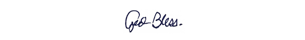 """""""God Bless"""" handwriting in a card sent to Nate Lindstrom from Gary Neville, at the time leader of St. Norbert Abbey."""