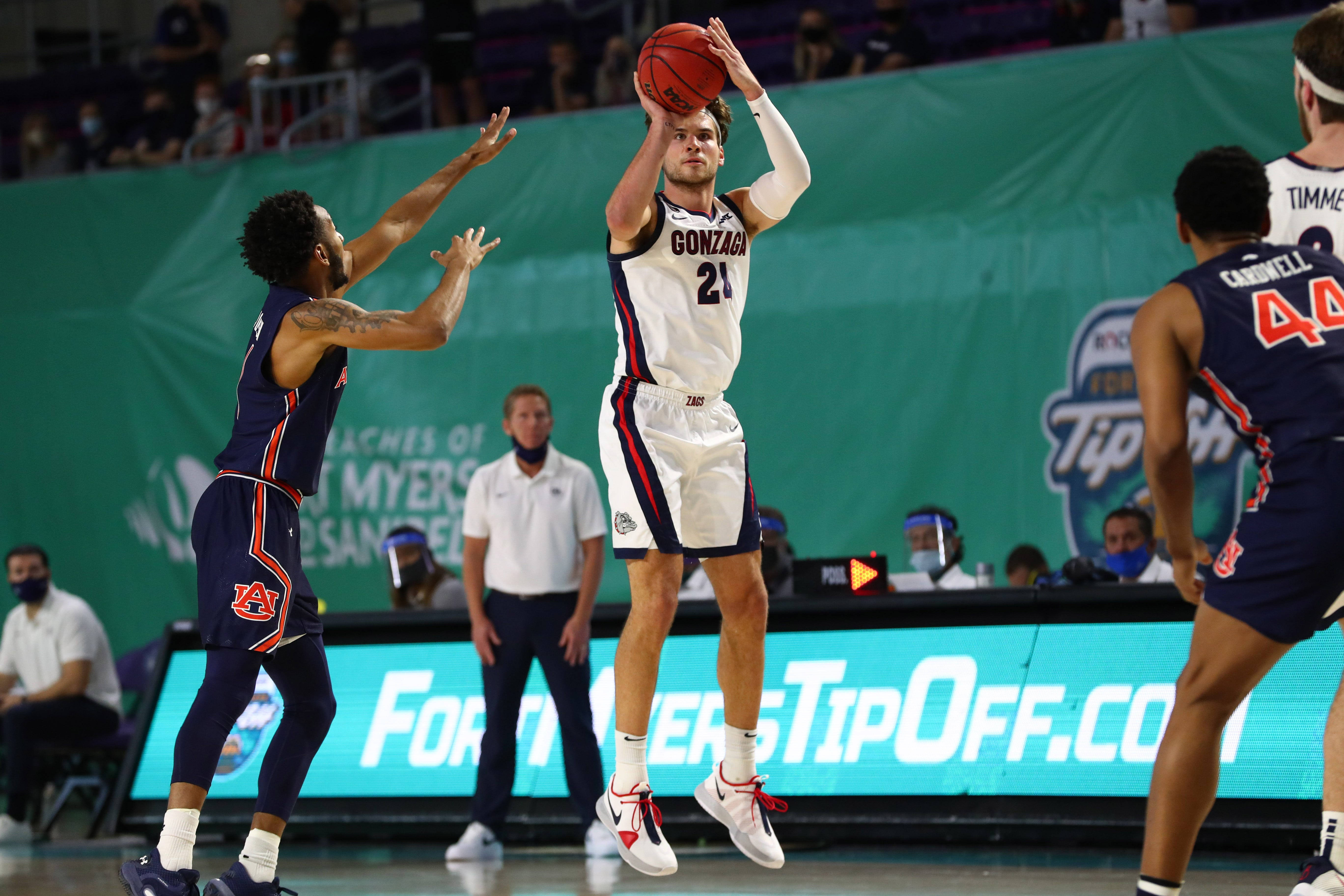 No. 2 Gonzaga rolls past Auburn at Fort Myers Tip-Off