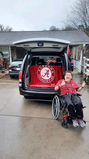 Jake Stitt, 17, was surprised with a van with a wheelchair lift by Justin Timberlake this week in Morristown, Tenn.