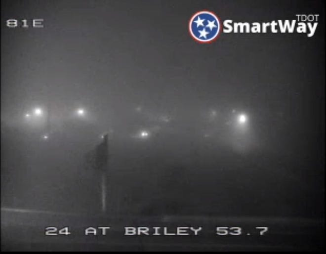 Traffic cameras overlook a wreck on I-24 near Briley Parkway were obstructed by fog early Friday morning.