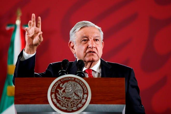 El presidente de México, Andrés Manuel López Obrador, habla durante su conferencia de prensa matutina en Palacio Nacional, Ciudad de México.