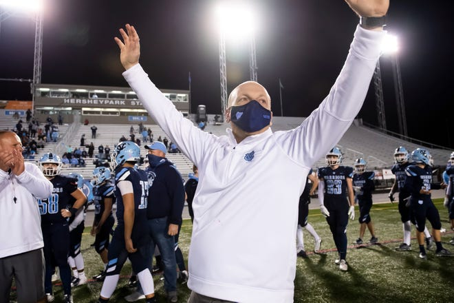 Central Valley head coach Mark Lyons celebrates as the final seconds tick away in their 35-21 win in the PIAA Class 3A championship at Hersheypark Stadium on Friday, November 27, 2020 in Hershey.