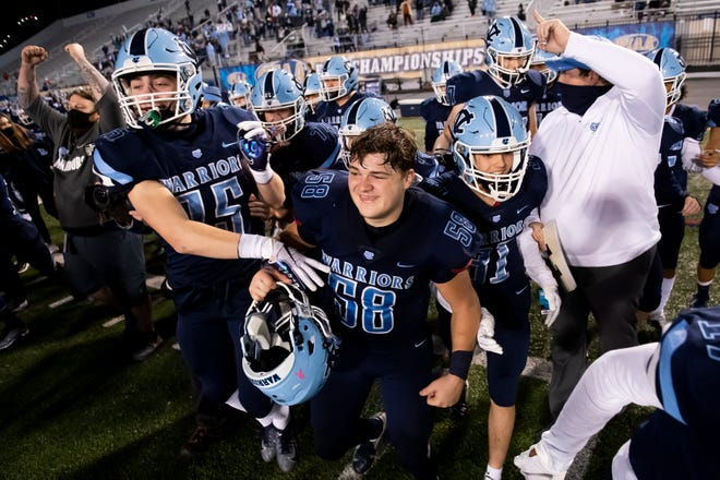 The Central Valley Warriors celebrate after defeating Wyomissing 35-21 in the PIAA Class 3A championship at Hersheypark Stadium on Friday.