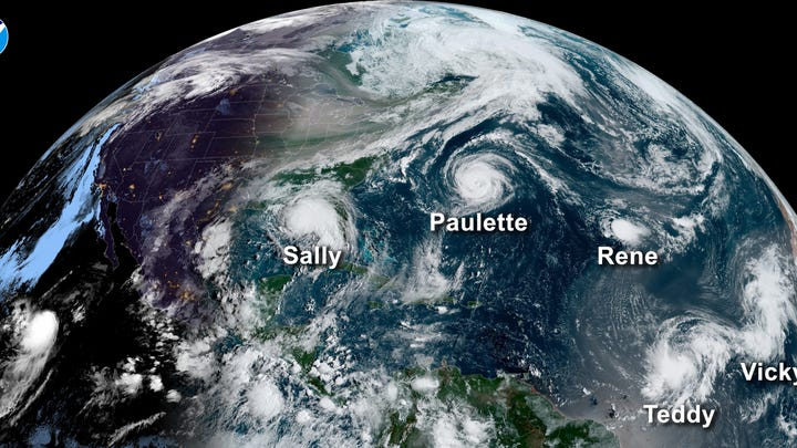 A satellite image from Sept. 14 shows five tropical systems spinning in the Atlantic basin at one time. From left to right. Hurricane Sally in the Gulf of Mexico, Hurricane Paulette east of the Carolinas, the remnants of Tropical Storm Rene in the central Atlantic and Tropical Storms Teddy and Vicky in the eastern Atlantic. A total of 10 named storms formed in September, the most for any month on record.