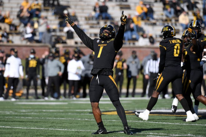 Missouri safety Joshuah Bledsoe celebrates during a game against Vanderbilt on Saturday at Faurot Field.