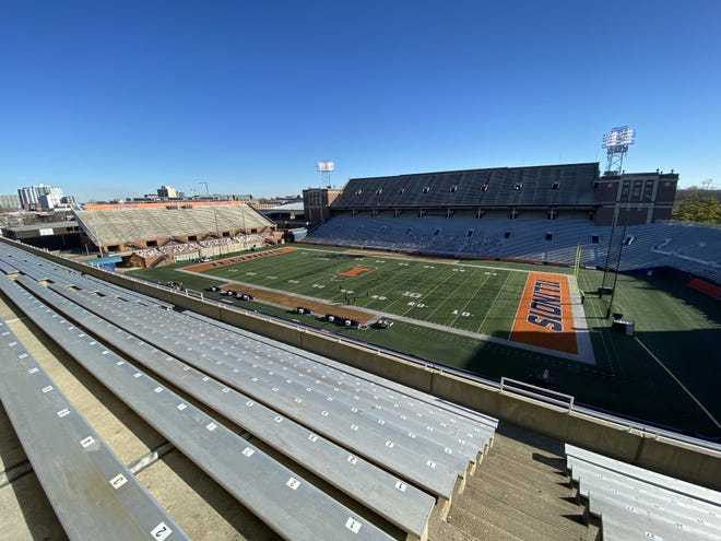 Memorial Stadium in Champaign, Illinois, sits empty on Saturday morning after the game between Ohio State and Illinois was canceled because of COVD-19 cases among the Buckeyes.