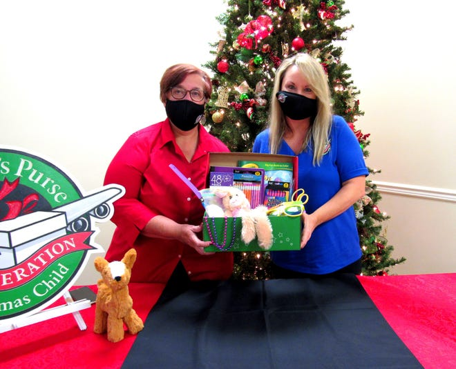 Barbara Alcaraz, Church Relations Coordinator for Volusia and Flagler counties, is joined by Sheila Lewis, Community Relations Coordinator for Volusia and Flagler counties, on the final day of the Operation Christmas Child collection drive 2020, at the First Baptist Church of Palm Coast.