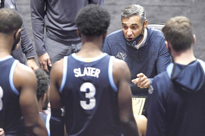 Villanova coach Jay Wright talks to the team during the second half o Thursday's game against Arizona State in Uncasville, Connecticut.