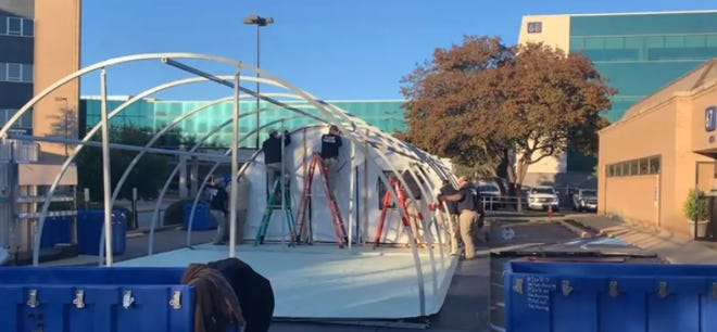 Medical tents have been placed outside Covenant Health in Lubbock to provide extra space for hospitals overwhelmed by COVID-19 patients.