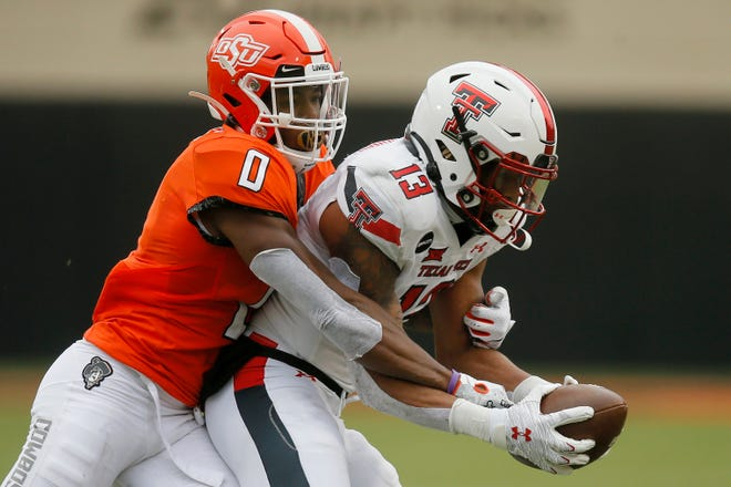 Texas Tech wide receiver Erik Ezukanma (13) was one of four Red Raiders players to receive first-team all-Big 12 recognition by the conference coaches, whose honor team was released Thursday.
