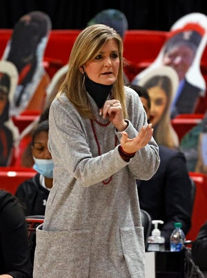 Texas Tech coach Krista Gerlich yells out to her team during the game against Houston Baptist, Saturday, Nov. 28, 2020, at United Supermarkets Arena in Lubbock, Texas.