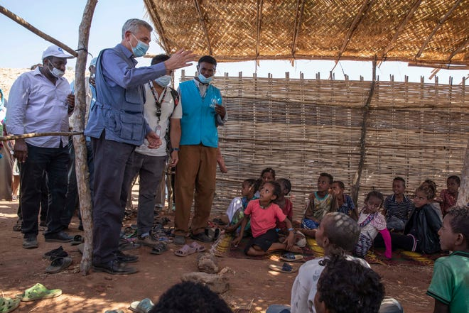 Filippo Grandi, U.N. High Commissioner for Refugees, visits Umm Rakouba refugee camp sheltering people who fled the conflict in Ethiopia's Tigray region in Qadarif, eastern Sudan, on Saturday.